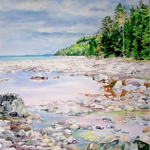 Available Watercolours - Cool Day, Warm Rocks, 30x30, framed, $700