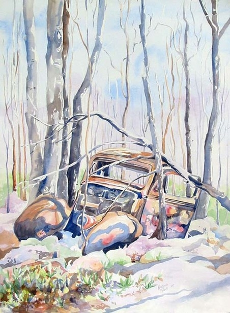 Available Watercolours - Final Rusting Place, 18x24 framed, $450