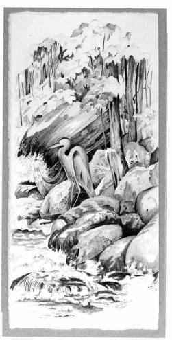 Landscapes & Still Life - Fishing, 5x12, framed 11x16, $250