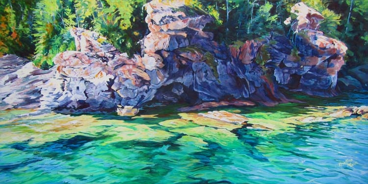 Archived Paintings - Georgian Bay Mosaic, 18x36