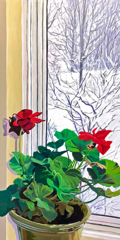 Available Acrylics - Janet's Geraniums, 12x24, $400