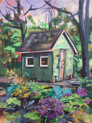 Archived Paintings - Nestled In The Garden, 9x12