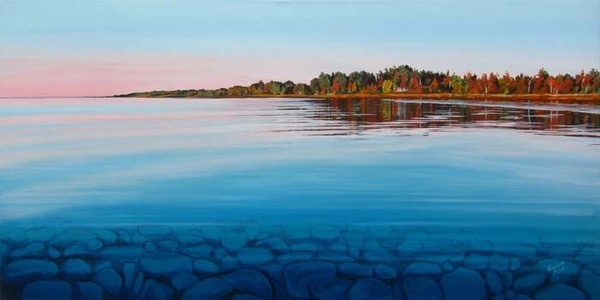 Archived Paintings - Twilight Huron Shore, 18x36