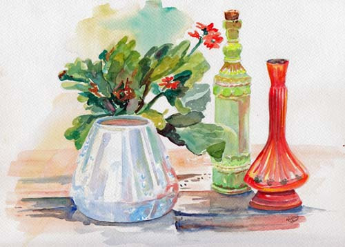 Available Watercolours - Watery Vases, 6x8, mounted, $120