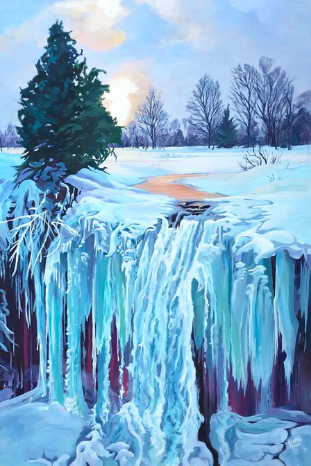 Available Acrylics -Winter Embers, 24x36, $1100